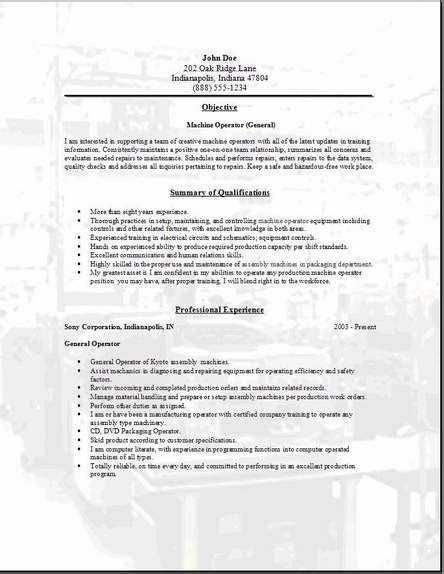 resume for lathe machine operator 28 images the most