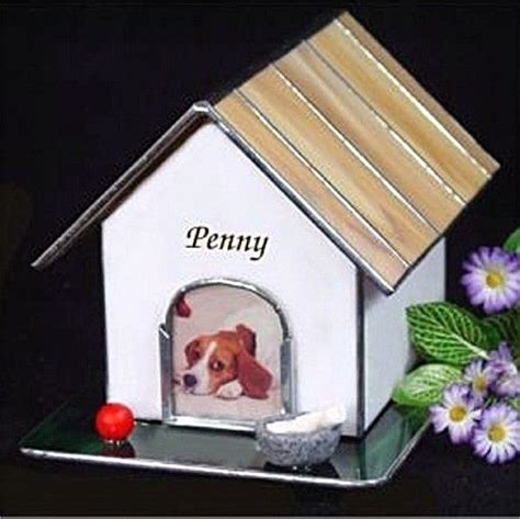 dog house urn custom stained glass dog house photo pet cremation urn by rays of joy stained glass