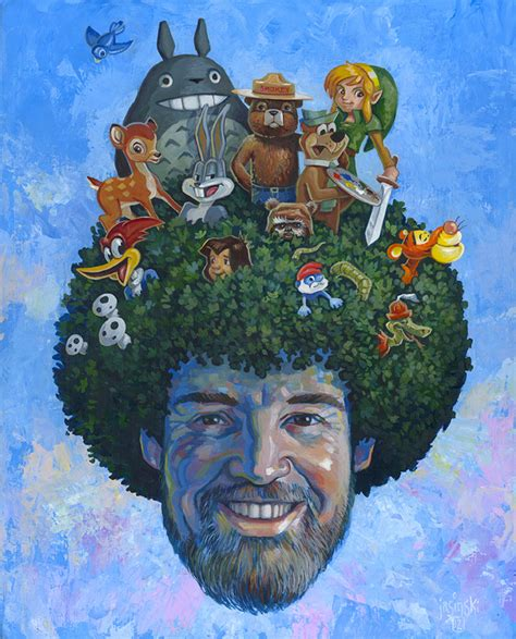bob ross paintings on display happy trees a tribute show to