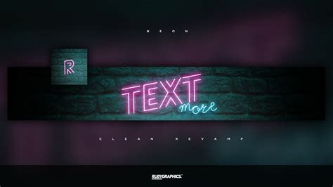 Free Gfx Free Photoshop Rev Banner Template Clean 2d Neon Style Design Youtube Neon Sign Template