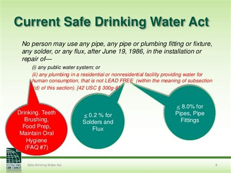 section 9 water act 10 31 2013 lead in plumbing products