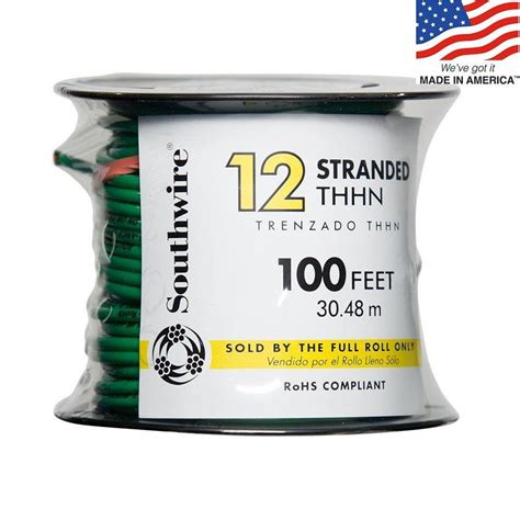 shop southwire 100 ft 12 awg stranded green copper thhn
