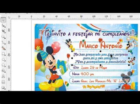 tutorial de como aser una invitacion en coreldraw wmv doovi invitacion de mickey mouse para imprimir en corel draw x4