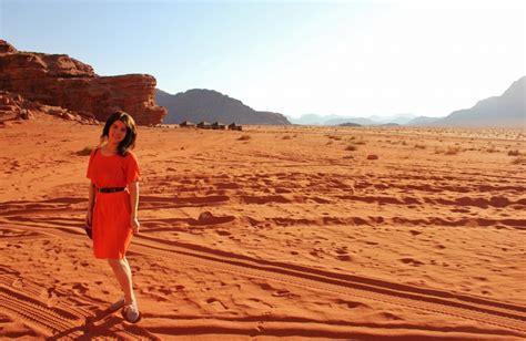 walking wadi rum desert sand dunes canyons girl