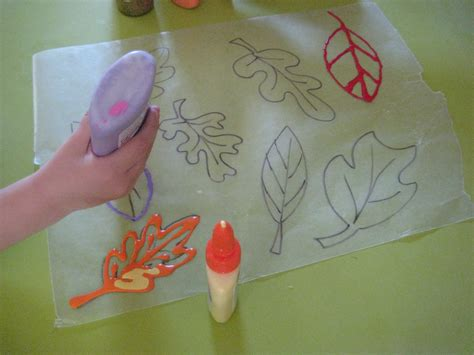 Wax Paper Arts And Crafts - pink and green fall leaves with elmer