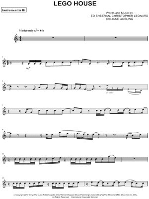 ed sheeran lego house sheet music ed sheeran quot lego house bb instrument quot sheet music trumpet clarinet soprano