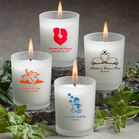 personalized candle wedding favors personalized frosted glass votive candle wedding favors