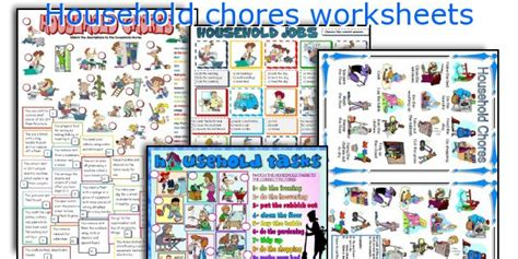 home chores english teaching worksheets household chores