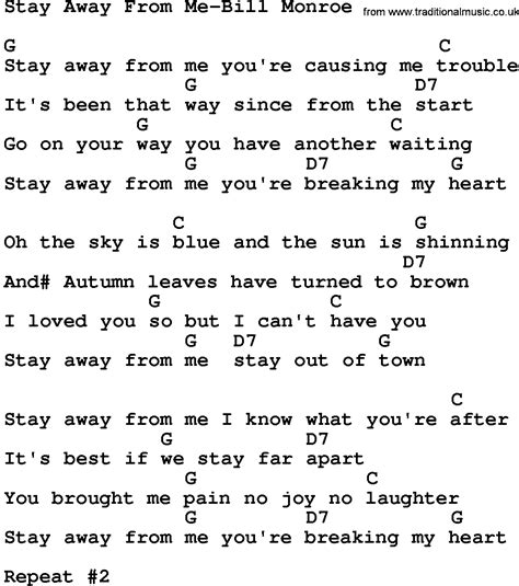 ukulele tutorial stay with me country music stay away from me bill monroe lyrics and chords