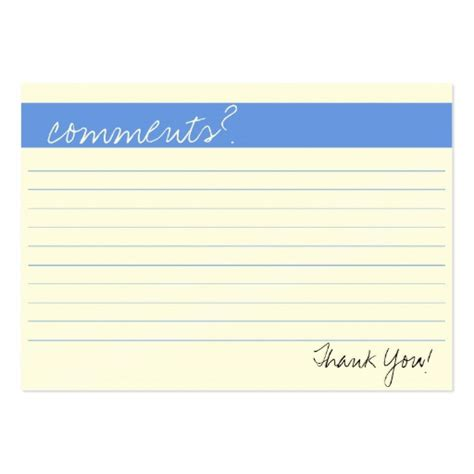 free comment card template templates for comment cards search engine at