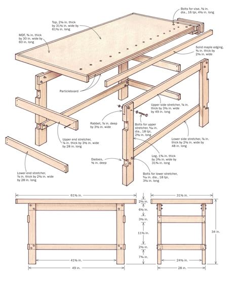 Free Wooden Shooting Bench Plans by Build Your First Workbench Finewoodworking