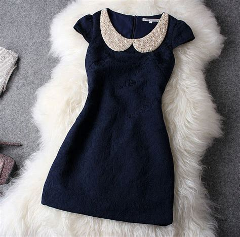 44260 Pink Winter Relax S M L Dress luxury designer blue dress with pearl beaded collar