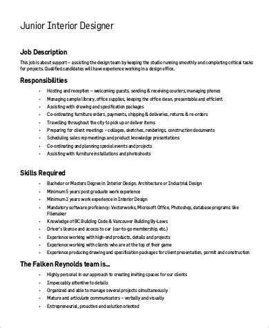 interior design description sle interior designer job description 9 exles in