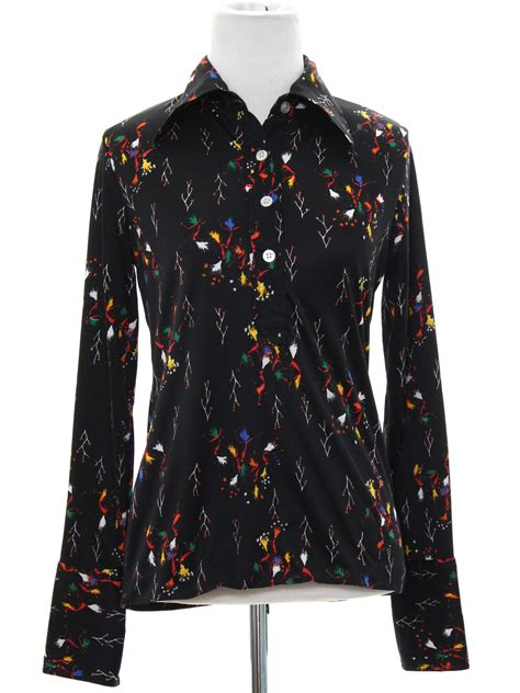 70s vintage import print disco shirt 70s import womens black background slinky