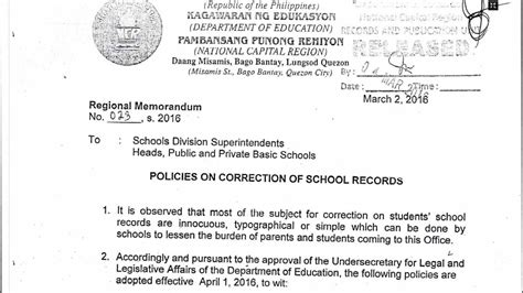 certification letter for correction of name deped policies on correction of school records teacherph
