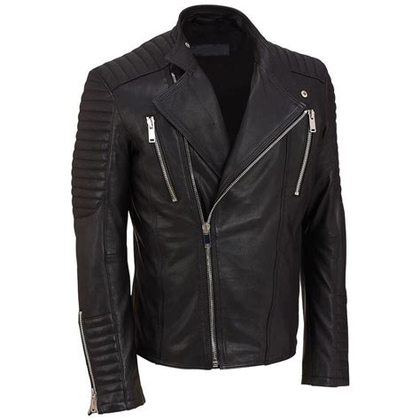 Handmade Leather Motorcycle Jackets - handmade s black biker leather jacket mens leather