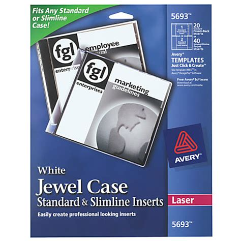 avery laser cddvd jewel case inserts pack of 20 by office