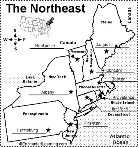 map of the northeast region states and capitals northeast region map with states and capitals sketch