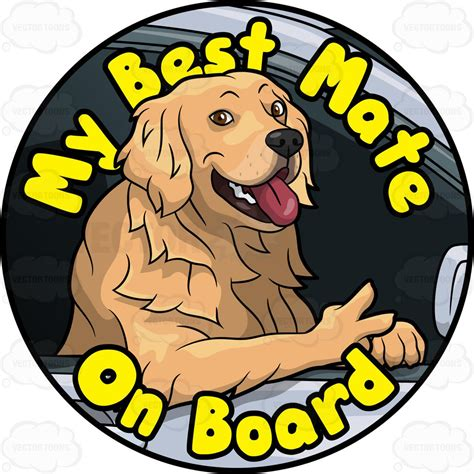 golden retriever pin golden retriever best mate on board pin clipart vector