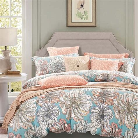 peach bed set peach grey and sky blue vintage floral bedding french