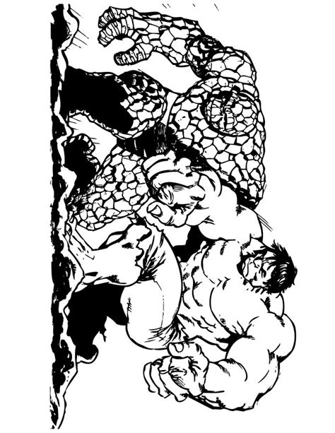 hulk fighting coloring pages the thing and incredible hulk coloring page free