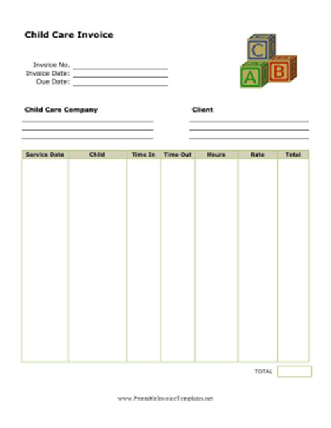 daycare invoice template child care invoice template