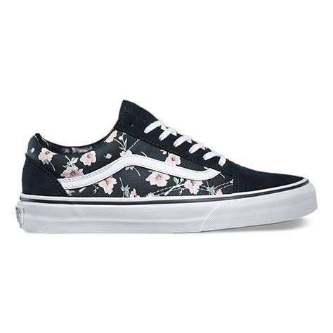 black pattern vans vintage floral old skool shop shoes at vans