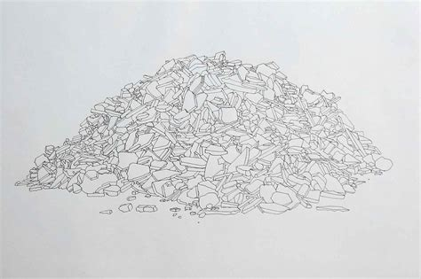drawing of pile of tiles drawing tony blackmore