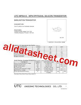 transistor mpsa13 datasheet mpsa13 datasheet pdf unisonic technologies