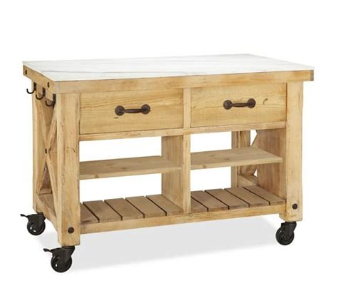 kitchen islands pottery barn hamilton reclaimed wood marble top kitchen island