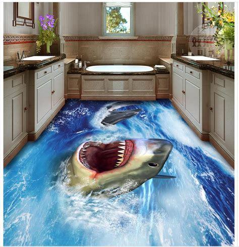 3d bathroom wallpaper waterproof Shark 3D floor pvc self