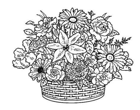 coloring pages of flower baskets flower collections in a basket of flowers coloring pages