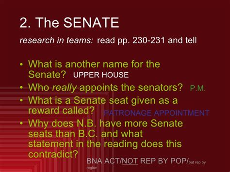 why is the senate called the upper house ss11 canadian parliamentary system chpt 9