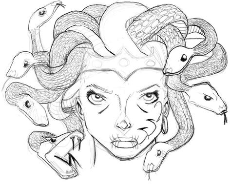doodle how to make medusa easy medusa drawing sketch coloring page