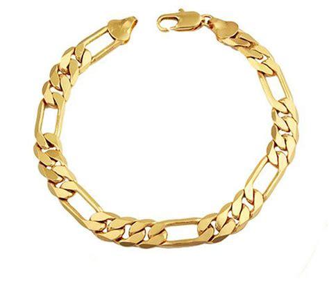 men s 18k gold plated figaro bracelet 8 mm