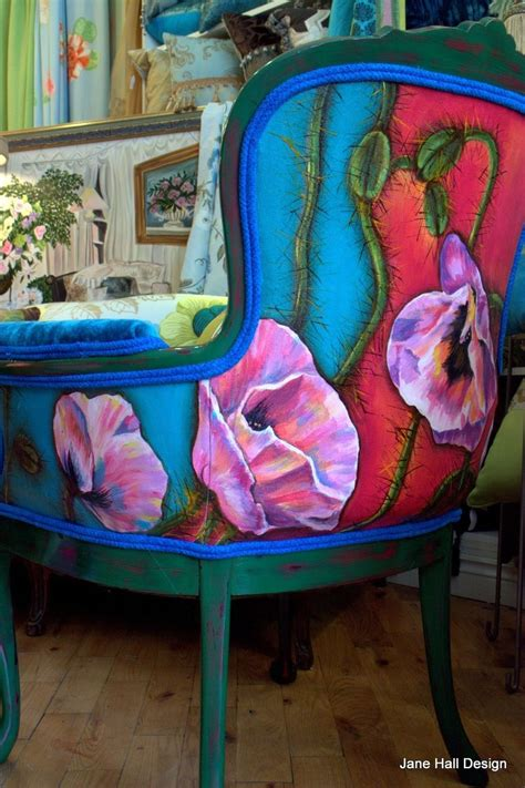painted armchair hand made pair of hand painted and upholstered vintage carved arm chairs by jane hall