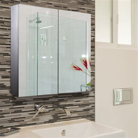 bathroom mirror with storage wall mounted bathroom mirror glass storage stainless steel cupboard 4 pattern ebay