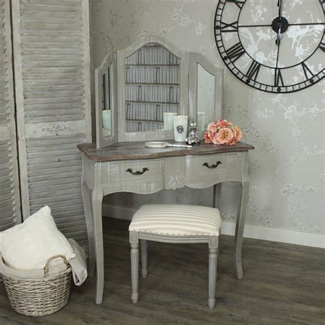 vintage dressing table with mirror and stool grey dressing table mirror stool melody maison 174