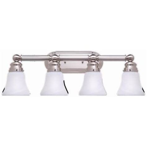 home depot light fixtures for bathroom hton bay 4 light brushed nickel bath light 05382 the