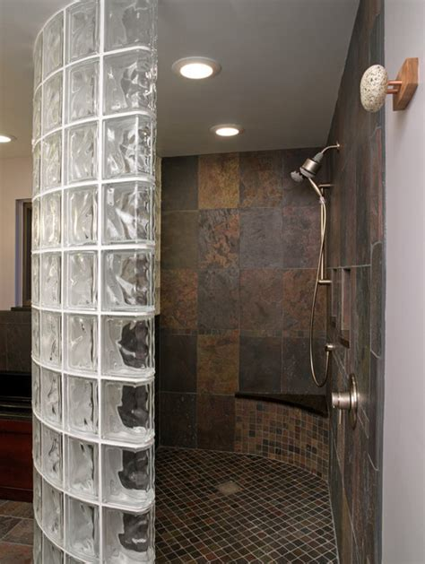 glass blocks bathroom walls glass block shower traditional bathroom cleveland