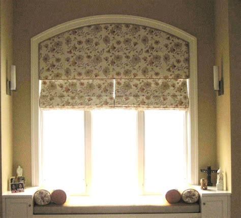 Floral roman shade for arched window treatment idea and bench with cushion plus storage