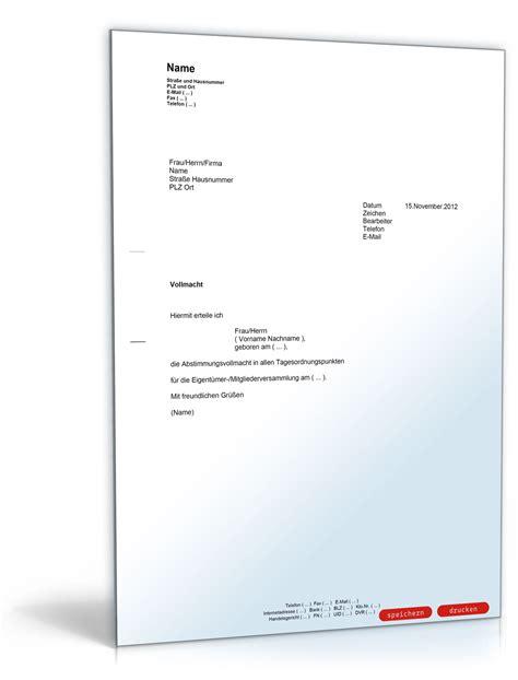 Vollmacht Schreiben Muster Pdf Vollmacht F 252 R Eigent 252 Merversammlung Muster Vorlage Zum