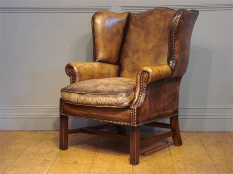 sold 20c leather wing armchair antique chairs benches