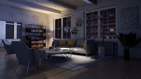 living room interior night scene  model living room