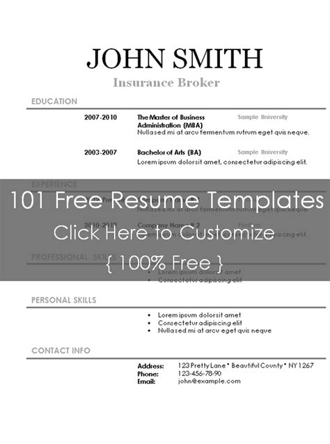 stand out resume templates free free printable resume templates