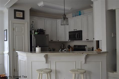 kitchen wood flooring and beadboard backsplash idea feat two tone chalk paint kitchen