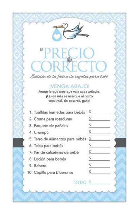 printable baby shower games in spanish instant download blue stork spanish baby shower games pack