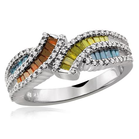 Nercy Ring Multicolour 1 1 2 cttw baguette silver multicolor ring size 7 only