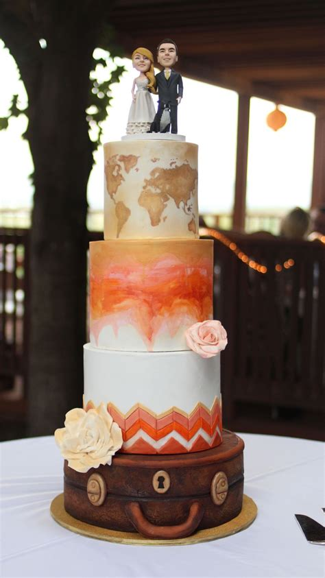 Theme Wedding Cakes by Travel Theme Wedding Cake Cakecentral