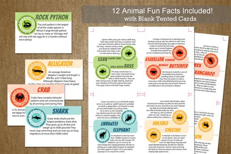 printable animal fun facts wild kratts birthday party tented animal by